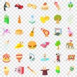 Amusement park icons set, cartoon style royalty free illustration