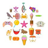 Amusement park icons set, cartoon style. Amusement park icons set. Cartoon set of 25 amusement park vector icons for web isolated on white background vector illustration