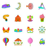 Amusement Park icons set, cartoon style Royalty Free Stock Photo