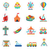 Amusement park icons set Royalty Free Stock Photos