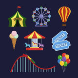 Amusement park icons set Stock Photos