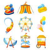Amusement Park Icons Set Stock Image
