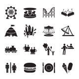 Amusement park icons set.  Royalty Free Stock Photos