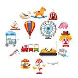 Amusement park icons set, flat style. Amusement park icons set in flat style. Attraction park set collection vector illustration Royalty Free Stock Image