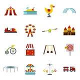 Amusement park icons set, flat style Royalty Free Stock Images