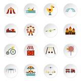 Amusement park icons set, flat style Royalty Free Stock Image
