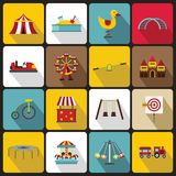 Amusement park icons set, flat style Royalty Free Stock Photography