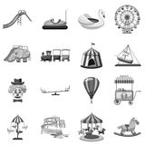 Amusement park icons set, gray monochrome style Royalty Free Stock Photos