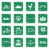 Amusement park icons set grunge Royalty Free Stock Image