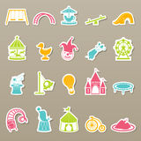 Amusement Park icons set Stock Photo