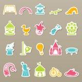 Amusement Park icons set. Illustration of amusement park icons set Stock Photo