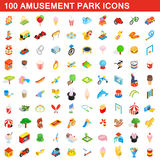 100 amusement park icons set, isometric 3d style Royalty Free Stock Photo