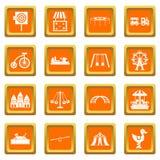 Amusement park icons set orange Royalty Free Stock Photography