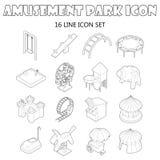 Amusement park icons set, outline style Stock Photo