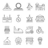 Amusement park icons set, outline style Stock Photography