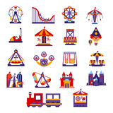Amusement Park Icons Set. Amusement Park  Primitive Colorful Style Flat Isolated Vector Icons Set On White Backgroun Stock Photography