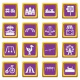 Amusement park icons set purple Stock Photo