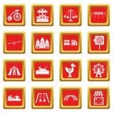 Amusement park icons set red Stock Images
