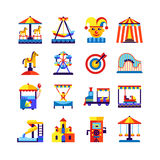Amusement Park Icons Set Stock Images