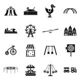 Amusement park icons set, simple style. Amusement park icons set in simple style. Attraction park set collection illustration royalty free illustration
