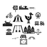 Amusement park icons set, simple style. Amusement park icons set in simple style. Attraction park set collection illustration stock illustration