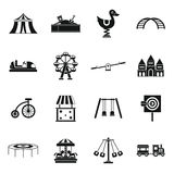 Amusement park icons set, simple style Royalty Free Stock Photo