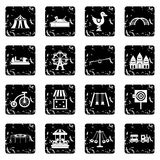 Amusement park icons set, simple style Stock Image