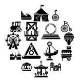 Amusement park icons set, simple style. Amusement park icons set. Simple illustration of 16 amusement park vector icons for web Stock Photography