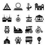 Amusement park icons set, simple style. Amusement park icons set. Simple illustration of 16 amusement park vector icons for web Royalty Free Stock Photos