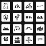 Amusement park icons set squares vector Royalty Free Stock Photo