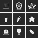 Amusement Park Icons. Set of icons on a theme Amusement Park Stock Photography