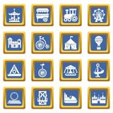 Amusement park icons set blue square vector. Amusement park icons set vector blue square isolated on white background Royalty Free Stock Photos