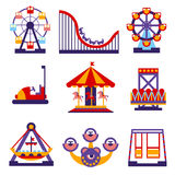 Amusement Park Icons Set of Vector Flat Design Stock Images