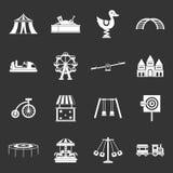 Amusement park icons set grey vector. Amusement park icons set vector white isolated on grey background Stock Photography