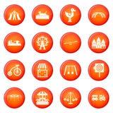 Amusement park icons vector set Stock Image