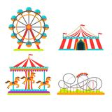 Amusement park illustration of attractions rides, circus tent, merry-go-round carousel and observation wheel or roller stock illustration