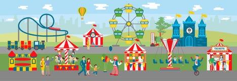 Amusement park illustration. Royalty Free Stock Photo