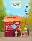 Amusement Park Illustration. Of family with two little children near shooting range tent cartoon vector Illustration Stock Photo