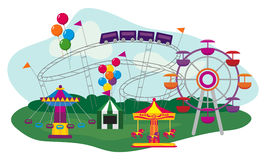 Amusement Park. Illustration of an Amusement Park, isolated on white background stock illustration