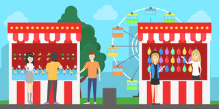 Amusement park illustration. People have fun at the park with wheel and fair Stock Photos