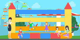 Amusement park illustration. People have fun at the park with wheel and trampoline Stock Images