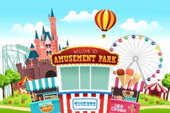 Amusement Park Illustration. A vector illustration of a map of an amusement park stock illustration