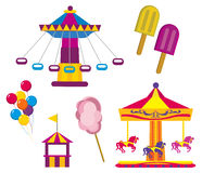 Amusement Park. Illustrations of Amusement Park symbols, isolated on white background royalty free illustration