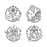 Amusement park illustrations, vector outline icons. For your design Royalty Free Stock Images