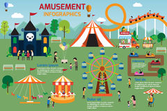 Amusement park infographic elements flat vector design. People s Royalty Free Stock Photography