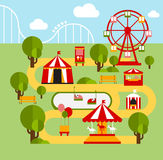 Amusement park infographic elements Royalty Free Stock Images