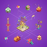 Amusement park infographic with isometric elements. Amusement park isometric infographic with kids carousel, circus tents, air slides, rifle range and ferris Stock Image