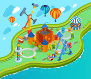 Amusement Park Isometric Cartoon Composition Stock Photos