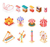 Amusement Park Isometric Cartoon Icons Set vector illustration