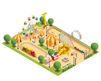 Amusement Park Isometric Composition. Amusement park with roller coaster carousels ferris wheel tents isometric composition on white background 3d vector royalty free illustration